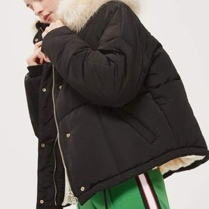 Topshop puffer with faux fur lining